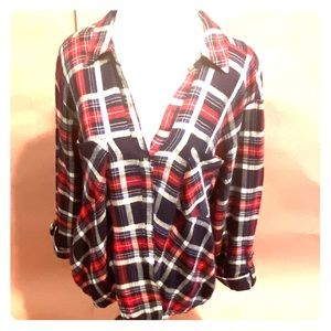 COCOMO Womens Top Plaid Polyester Blouse